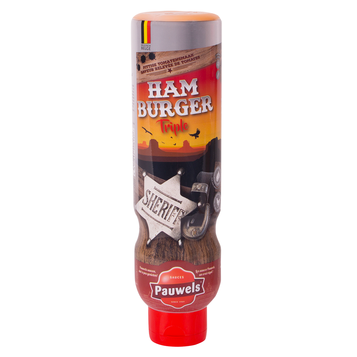 Hamburger Triple van Pauwels Sauzen in 1 liter tube