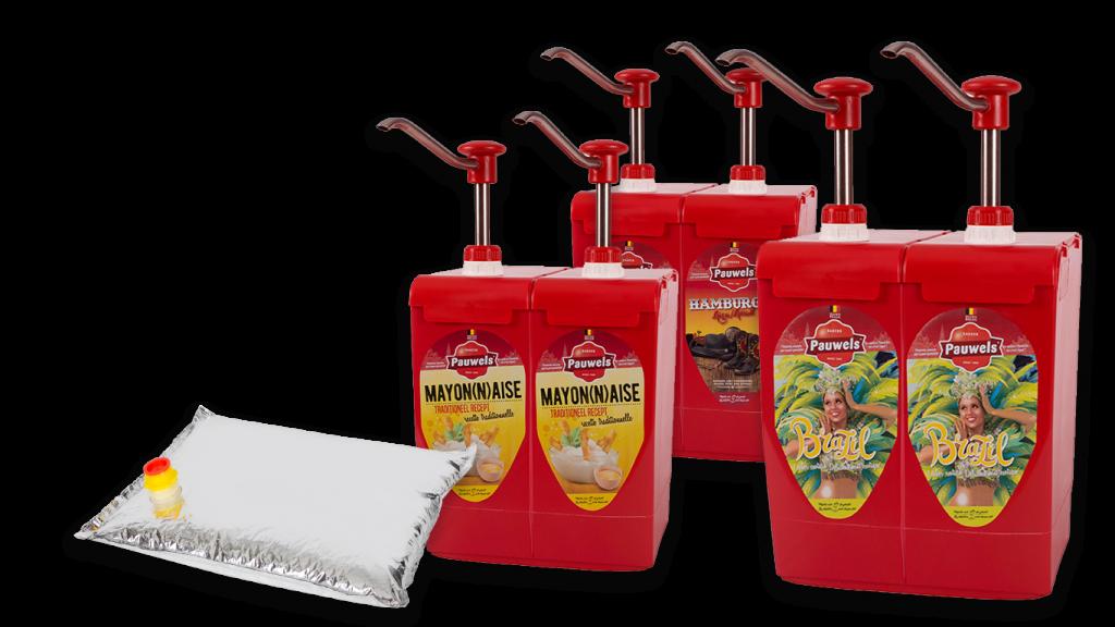 Assortiment van Pauwels Sauzen in 5 liter bag-in-box met vacuumzak